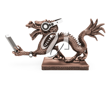 Bronze dragon with Chinese headphones, phone and clock