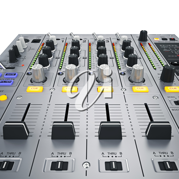 Didital dj mixer. Yellow buttons and controls