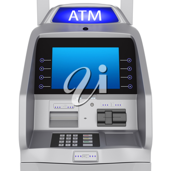 Bank terminal modern style on a white background. ATM cash terminal with display