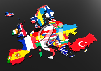 European flags. Countries of europe. Black background