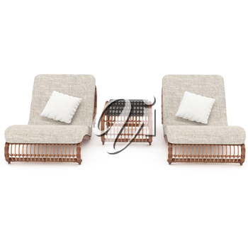 The furniture made of dark rattan isolated on white background for relaxing on the terrace. 3D graphics