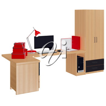 Office furniture composition with computer, lamp, boxes for papers and folders. 3d graphic object on white background isolated