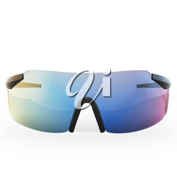 Chameleon sunglasses with colored glass on a white isolated background