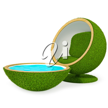 Relax Grass Chair. Grass pool. White background