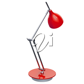 Stylish red lamp for the office and home interior design. 3d graphic object on white background isolated