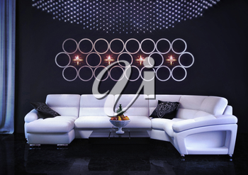 White sofa in the room. Interior of modern style. Room with a decor