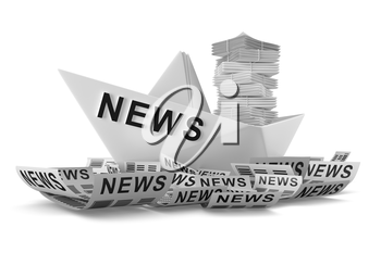 Paper boat on the sea of news on a white background isolated