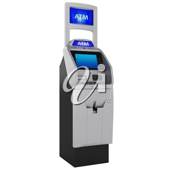 Terminal with two displays. Cash ATM with buttons and touch screen isolated on white background