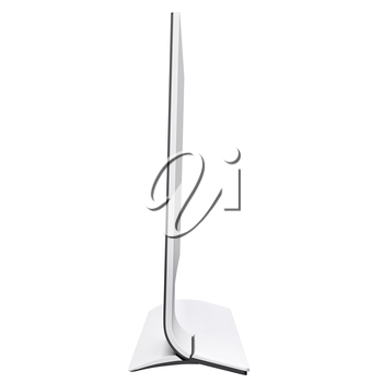 Graceful design of modern and futuristic monitor with curved leg of it base. 3d graphic object on white background isolated