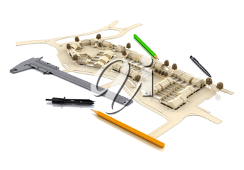 Architectural engineering. Designing buildings and landscape. Mockups architecture