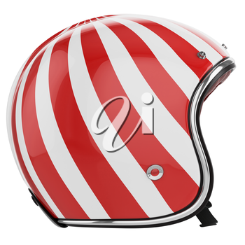 Motorcycle helmet red white striped. Helmet classic style. Helmet left view.
