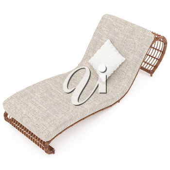 Deckchair rattan with comfortable mattress and pillow on a white background isolated. 3D graphics