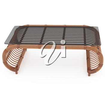 Wooden table with rattan with a glass top on a white background isolated. 3D graphics