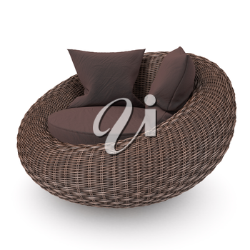 Rattan chair right view with soft pillows, on a white background