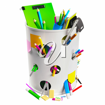 White trash can with circle holes filled with some office stationery