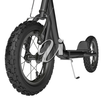 Rubber spike wheel scooter with spokes on a white background