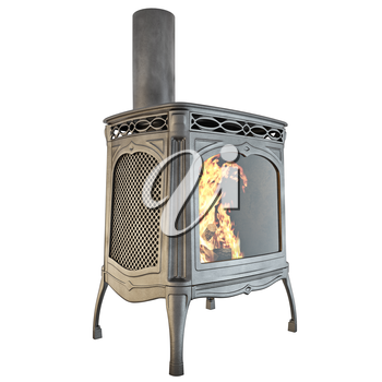 Fireplace side view of a fire on a white background isolated. 3D graphics