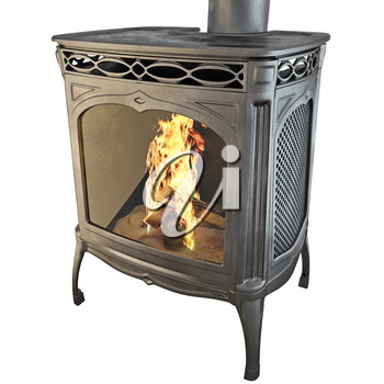 Fireplace The classic black on a white background isolated side view. 3D graphics