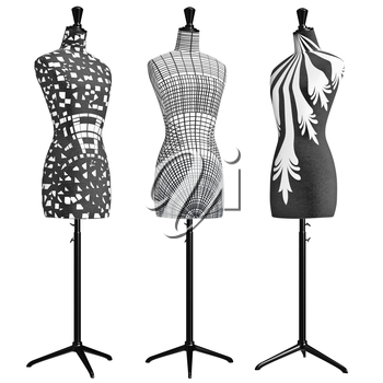 Female mannequins on tripod with patterns. 3D graphic object on white background isolated