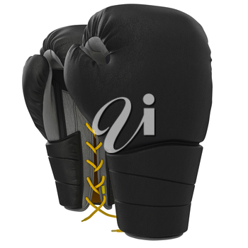 Black sports gloves with laces. 3D graphic object on white background isolated