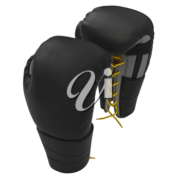 Leather sports gloves with yellow laces. 3D graphic object on white background isolated