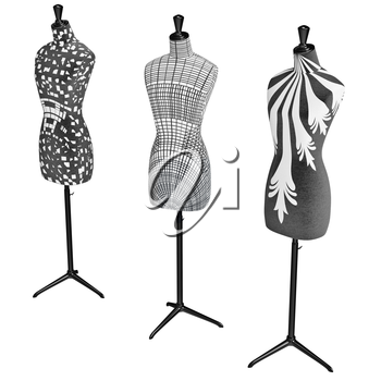 Mannequins on the metal tripod with black and white patterns. 3D graphic object on white background isolated