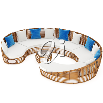 Rattan sofa patio with coffee table. 3D graphic object on white background isolated