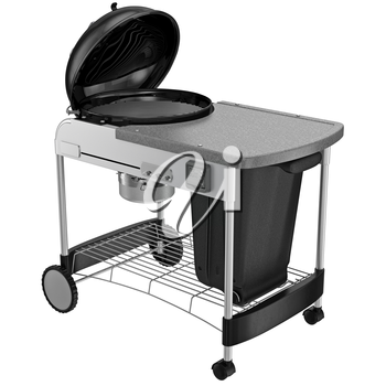 Grill with table, closed containers for collection of coal.  3D graphic object on white background isolated