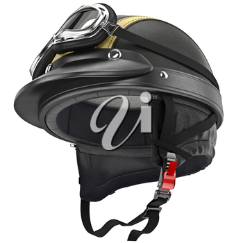 Protective ears for fastening leather motorcycle helmet retro style. 3D graphic object on white background isolated