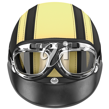 Glasses with a leather helmet for bikers. 3D graphic object on white background isolated
