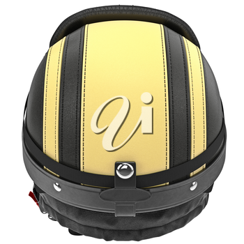 Biker motorcycle helmet with yellow stripes and ear protection. 3D graphic object on white background isolated