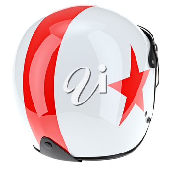 Glossy motorcycle helmets with red stripe. 3D graphic object on white background isolated