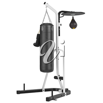 Boxing stand with pears. 3D graphic object on white background isolated