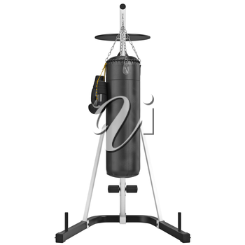 Set punching bag, front view. 3D graphic object on white background isolated