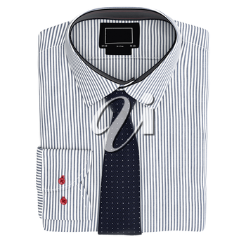 Classic men's shirt and tie, top view. 3D graphic object on white background isolated
