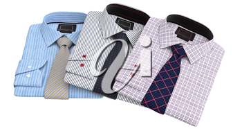 Set classic men's shirts and ties. 3D graphic object on white background isolated