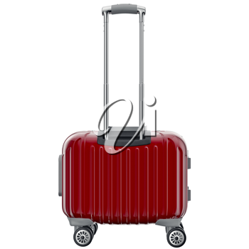 Travel luggage red, back view. 3D graphic object isolated on white background