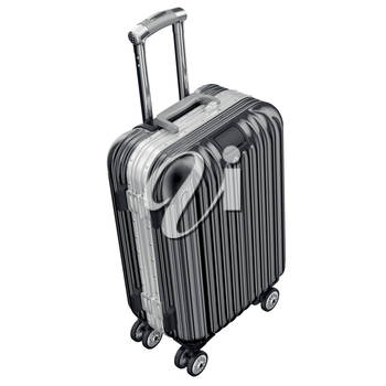 Black luggage on wheels. 3D graphic object isolated on white background