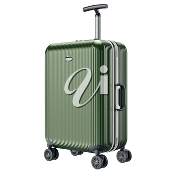 Green metal luggage for travel. 3D graphic object isolated on white background