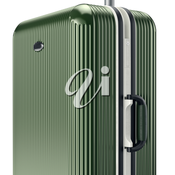 Luggage with handle, close view. 3D graphic object on white background