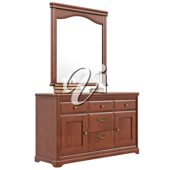 Classic dresser with mirror. 3D graphic isolated object on white background