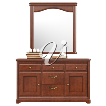 Large dresser with mirror, front view. 3D graphic isolated object on white background