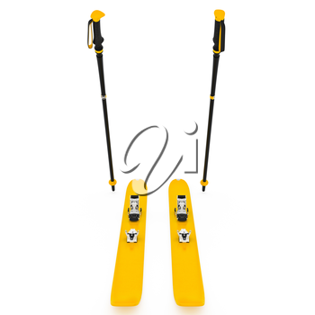 Skiing yellow, ski poles, front view. 3D graphic isolated object on white background