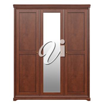 Cabinet wardrobe, front view. 3D graphic isolated object on white background