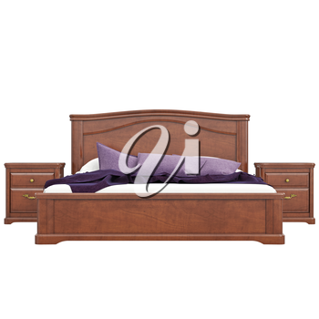 Bed with bedside tables, front view. 3D graphic isolated object on white background