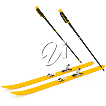 Skiing orange ski poles. 3D graphic isolated object on white background
