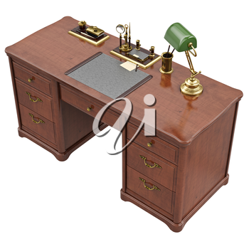 Office desk with lamp and stationery, top view. 3D graphic isolated object on white background