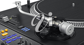 Vinyl black needle dj turntable studio, zoomed view. 3D graphic