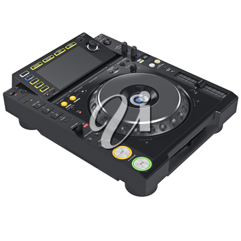 Black digital dj mixer music equipment with large screen. 3D graphic