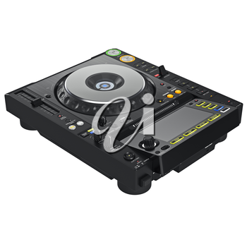 Black dj mixer turntable, digital display. 3D graphic